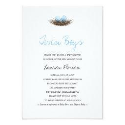 Watercolor Twin Boys Bird's Nest Baby Shower Invitations