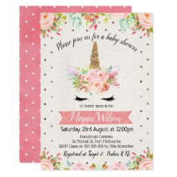 Watercolor Unicorn Floral Baby Shower Invitations