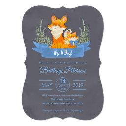 Watercolor Woodland Fox Boy Baby Shower