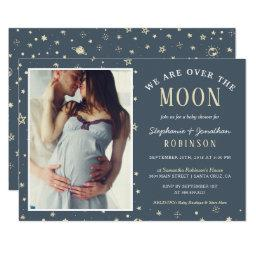 We Are Over The Moon Photo Baby Shower Invitations