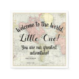 Welcome To The World World Map Baby Shower Napkins