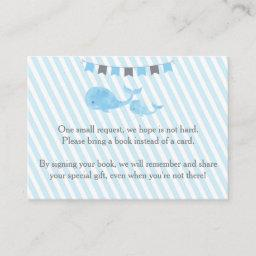 Whale Baby Shower Bring a Book Insert