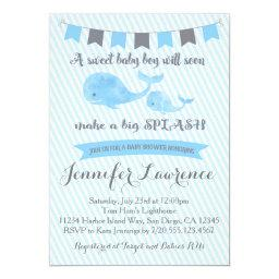 Whale Baby Shower Invitation