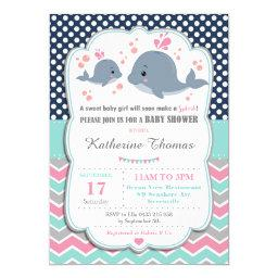 Whale Baby Shower  Baby Girl Pink Polka