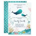 Whale Baby Shower Invitation Ocean Ahoy Boy Cute