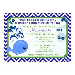 Whale Baby Shower  Chevron Blue Green