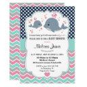Whale Baby Shower Personalized Invitation Girl