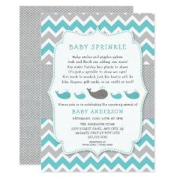 Whales Baby Sprinkle Invitations, Neutral Gender Invitations