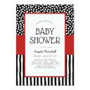 Whimsical Black White And Red Baby Shower Invitation