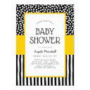 Whimsical Black White And Yellow Baby Shower Invitation