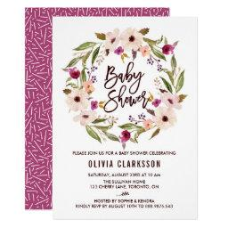 Whimsical Bohemian Floral Wreath Baby Shower Invitations