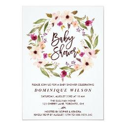 Whimsical Bohemian Floral Wreath Baby Shower