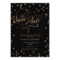 Whimsical Gold Confetti Baby Shower Save The Date Magnetic