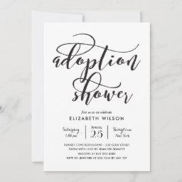 Whimsical Script Adoption Baby Shower Invitation