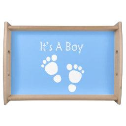 White baby foot - It's a boy baby-shower Serving Tray