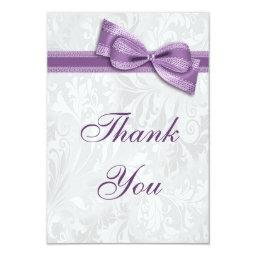 White Damask and Faux Bow Thank You