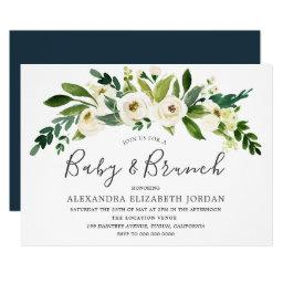 White Flowers Blooming Baby & Brunch Invitation