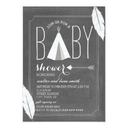 White Tipi + Feathers Baby Shower