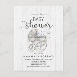 White Wood & Carriage Boy Baby Shower Invitations
