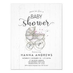 White Wood & Carriage Girl Baby Shower Invitations