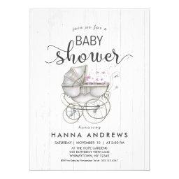 White Wood & Carriage Girl Baby Shower