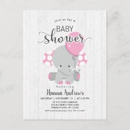 White Wood Pink Elephant Baby Shower