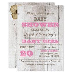 Whitewash Pink Baby Shower Invitation