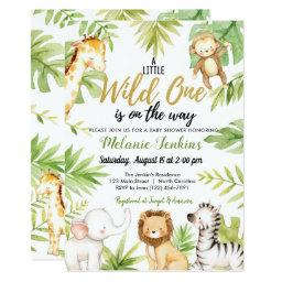 Wild One Jungle Animals Boy Baby Shower Invitation