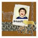 Wild Zebra Safari Zoo Birthday Photo Invitation