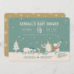 Winnie The Pooh And Pals Winter Baby Shower Invitation