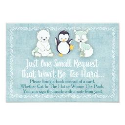Winter Animals Baby Shower Bring A Book Invitations