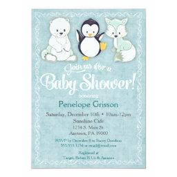 Winter Animals Baby Shower Invitation Bear Penguin