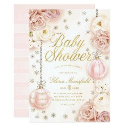 Winter Blush Pink Floral Baby Shower Invitation