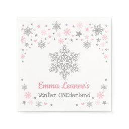 Winter Snowflake Pink Silver Birthday Baby Shower Napkin