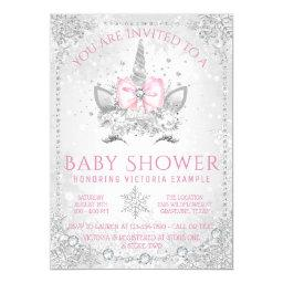 Winter Wonderland Snowflakes Unicorn Baby Shower Invitation
