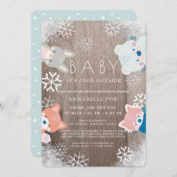 Winter Woodland Animals Blue Drive-by Baby Shower Invitation