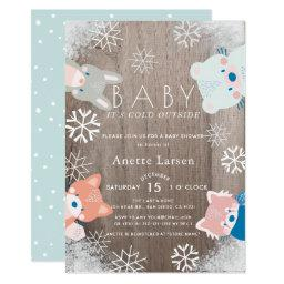 Winter Woodland Animals Snowflake Blue Baby Shower Invitation