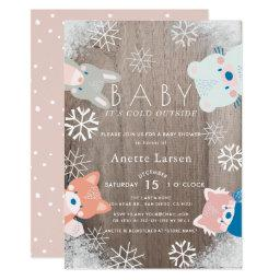 Winter Woodland Animals Snowflake Pink Baby Shower Invitation