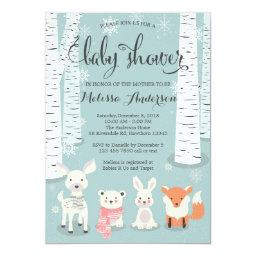 winter woodland  invitation, animals