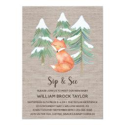 Winter Woodland Fox Sip And See Invitations