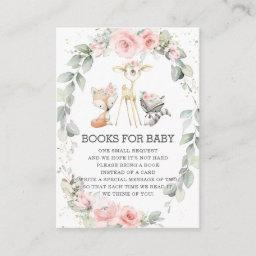 Woodland Animals Floral Greenery Books For Baby Enclosure Card