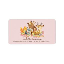 Woodland Animals Girls  Address Label