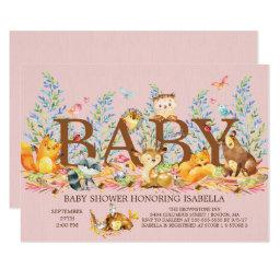 Woodland Animals Girls Baby Shower