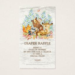 Woodland Animals Neutr Shower Diaper Raffle Ticket