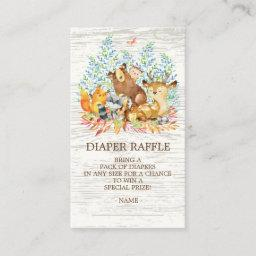 Woodland Animals Neutr Shower Diaper Raffle Ticket Enclosure