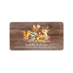 Woodland Animals Neutral Baby Shower Address Label