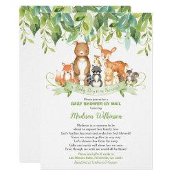 Woodland Animals Virtual Baby Shower Mail Greenery Invitation