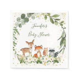Woodland Baby Shower Greenery Forest Animal Napkins