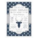 Woodland Baby Shower Invitation, Navy, Gray Invitation