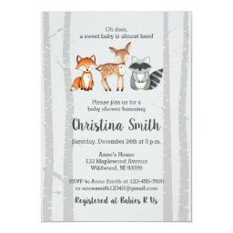 Woodland Baby Shower Invitation-Watercolor Animals